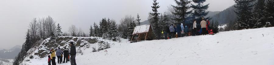 Panoráma z Červenej skaly pri varení Silvestrovskej kapustnice